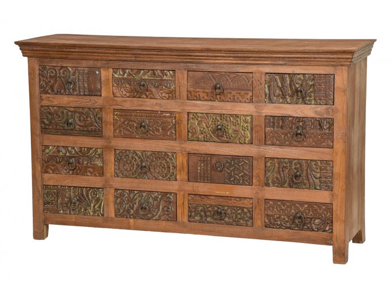 Šuplíková komoda z teakového dřeva, ruční řezby na šuplíkách, hnědá, 150x45x85cm