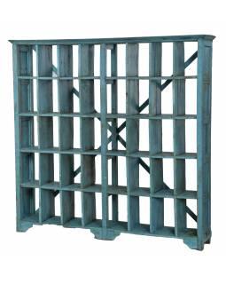Knihovna z teakového dřeva, tyrkysová patina, 188x36x183cm