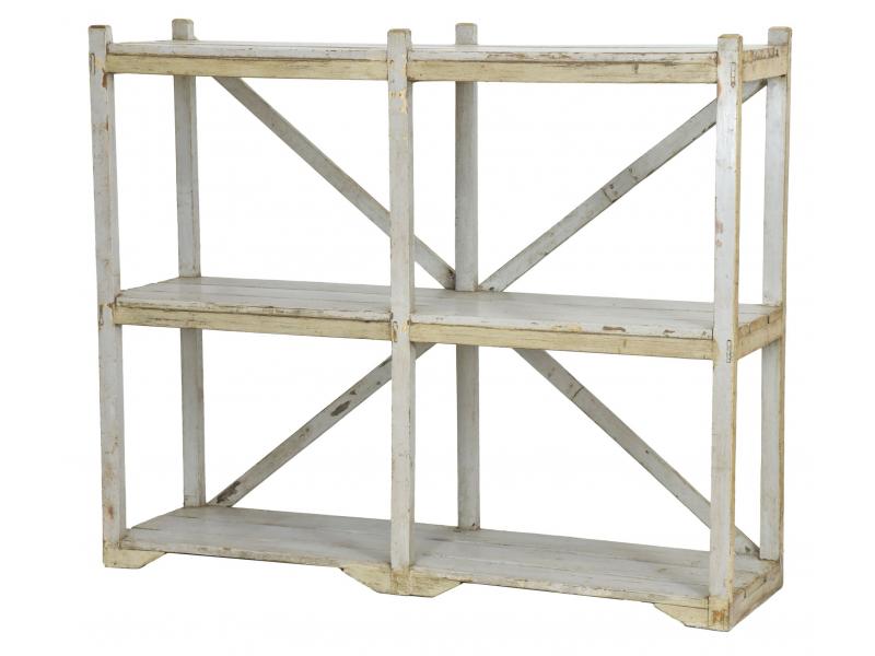 Regál z teakového dřeva, šedá patina, 162x44x134cm