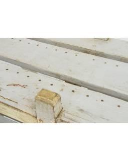 Regál z teakového dřeva, bílá patina, 162x44x134cm