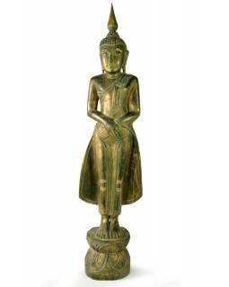 Narozeninový Buddha, neděle, teak, zelená patina, 63cm