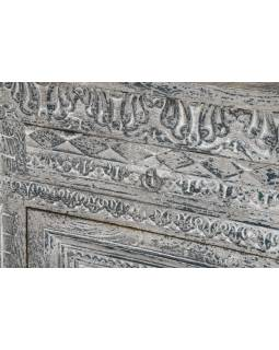 Komoda z mangového dřeva, šedo-stříbrná patina, 197x43x97cm
