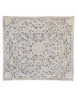 Ručně vyřezávaná mandala z mangového dřeva, bílá patina, 166x5x147cm