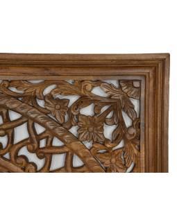 Ručně vyřezávaná mandala z mangového dřeva, 150x5x150cm