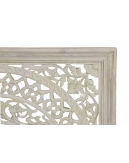Ručně vyřezávaná mandala z mangového dřeva, bílá patina, 120x5x120cm