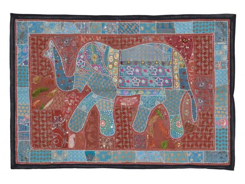 Patchworková tapiserie z Rajastanu, ruční práce, modrý slon, 152x106cm