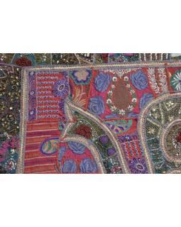 Patchworková tapiserie z Rajastanu, ruční práce, smaragdový slon, 152x108cm