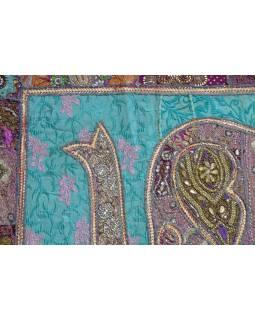 Patchworková tapiserie z Rajastanu, ruční práce, slon, pistáciová 148x100cm