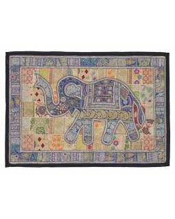 Patchworková tapiserie z Rajastanu, ruční práce, slon, žlutá, 152x106cm