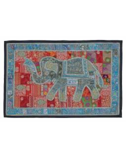 Patchworková tapiserie z Rajastanu, ruční práce, slon, červená, 156x104cm