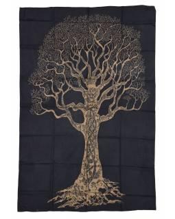 Přehoz s tiskem, černý, zlatý tisk strom života, 136x205cm