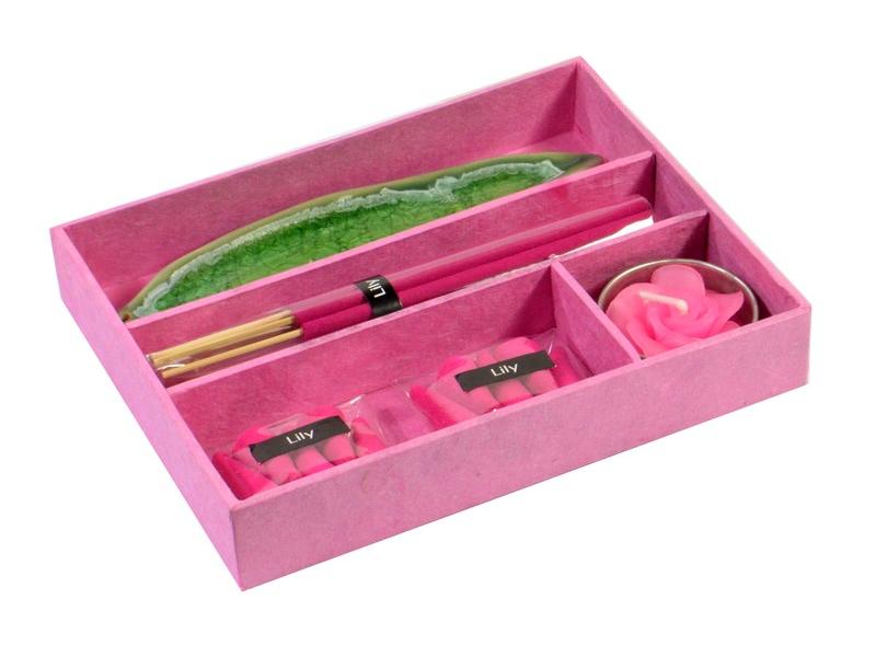 Dárkový set růžový Lily, 16x13x3cm