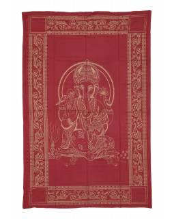 Přehoz s tiskem, červený, zlatý tisk, Ganéš, 137x205cm