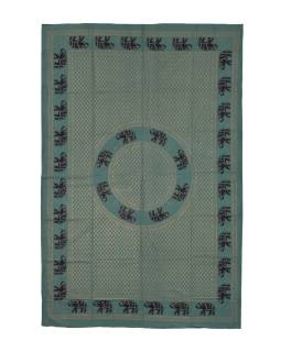 Přehoz s tiskem, zelený, zlato-černý tisk, sloni, 138x205cm