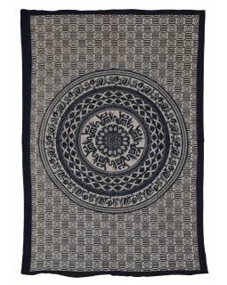 Přehoz s tiskem, Mandala, sloni, béžový, černý tisk, 140x202cm