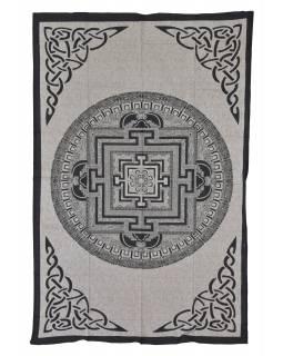 Přehoz s tiskem, Mandala, béžový, černý tisk, 140x202cm