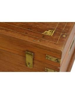 Stará dřevěná truhlička z teakového dřeva, 50x34x32cm