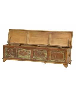 Truhla z teakového dřeva, ruční řezby, 170x44x43cm
