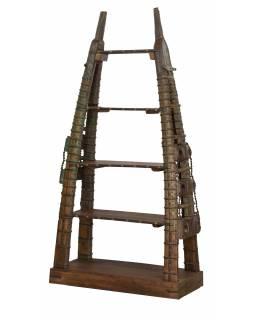 Teakový regál vyrobený ze starého povozu, 118x52x228cm