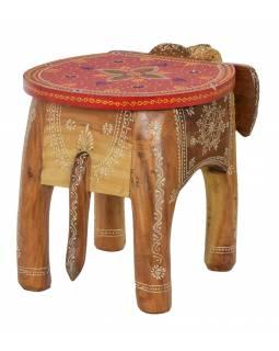 Stolička ve tvaru slona ručně malovaná, 47x34x35cm