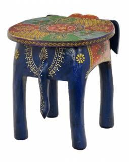 Stolička ve tvaru slona ručně malovaná, modrá, 38x28x31cm