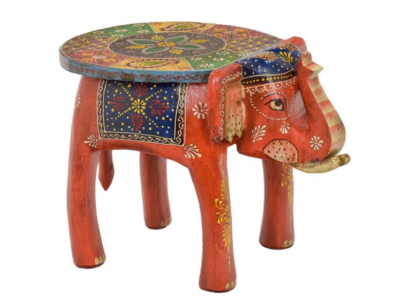 Stolička ve tvaru slona ručně malovaná, oranžová, 38x28x31cm