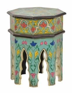 Stolek osmiboký, ručně malovaný, 30x30x38cm