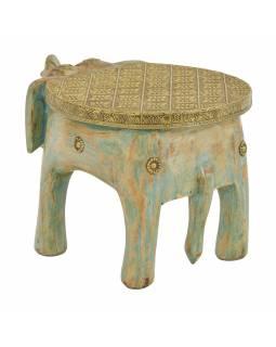 Stolička ve tvaru slona zdobená moszným kováním, 30x19x18cm