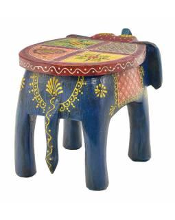 Stolička ve tvaru slona ručně malovaná, modrá, 30x19x18cm