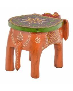 Stolička ve tvaru slona ručně malovaná, oranžová, 30x19x18cm