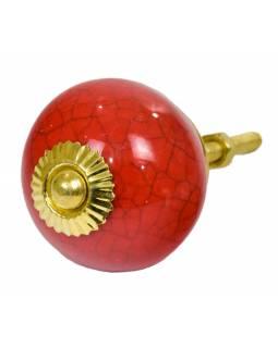 Malovaná porcelánová úchytka na šuplík, červená s popraskaným efektem, 4cm