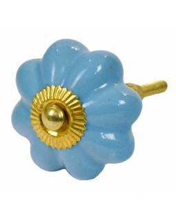 Malovaná porcelánová úchytka na šuplík, nebesky modrá květina, průměr 4,5cm