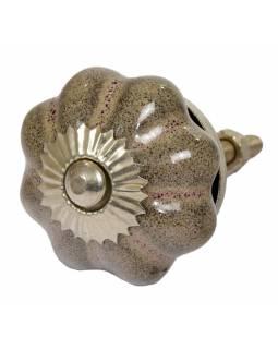 Malovaná porcelánová úchytka na šuplík, květina, pískovcová šedá patina, lesklá