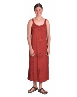 Delší letní volné šaty, tmavě červené, na ramínka, s výšivkou, vázání na zádech