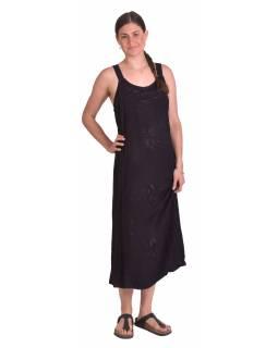 Delší letní volné šaty, černé, na ramínka, s výšivkou, vázání na zádech