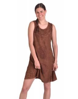 Krátké letní volné šaty, hnědé, bez rukávu s výšivkou, vázání na zádech