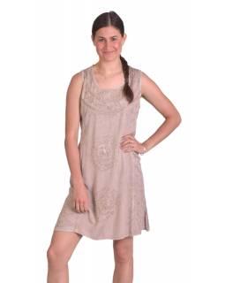 Krátké letní volné šaty, béžové, bez rukávu s výšivkou, vázání na zádech