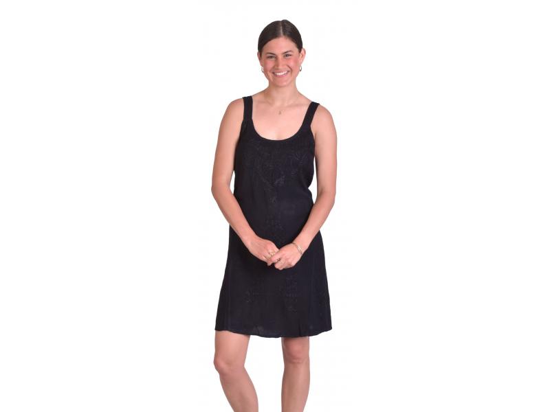 Krátké letní volné šaty, černé, na ramínka s výšivkou, vázání na zádech