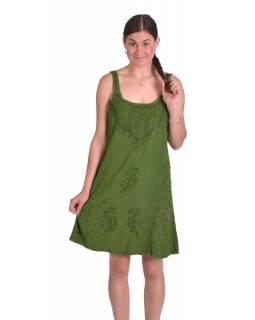 Krátké letní volné šaty, zelené, na ramínka s výšivkou, vázání na zádech