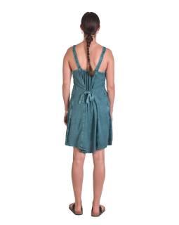 Krátké letní volné šaty, mentolově-modré, na ramínka s výšivkou,vázání na zádech