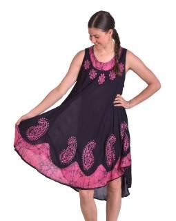 Krátké letní volné šaty, černé, bez rukávů, růžový potisk a výšivka