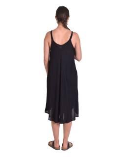 Krátké letní volné šaty, černé, na ramínka, bílý potisk