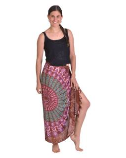 Sárong hnědý s barevnou Mandalou, 100x160cm + třásně, s ručním tiskem