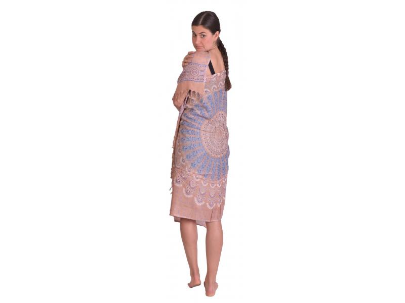 Sárong světle hnědý s barevnou Mandalou, 100x160cm + třásně, s ručním tiskem