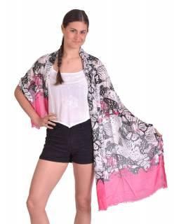 Šátek z viskózy, bílo-růžový, černý potisk květin, 70x180cm