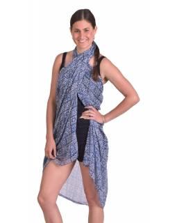 Šátek z viskózy, modro-bílý, dlaždicový potisk 106x180cm