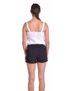 Letní krátký top na ramínka, sněho-bílý, ruční výšivka, žabičkování na zádech
