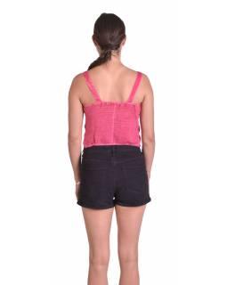 Letní krátký top na ramínka, růžový, ruční výšivka, žabičkování na zádech