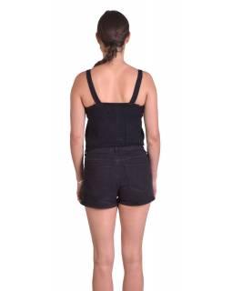 Letní krátký top na ramínka, černý, ruční výšivka, žabičkování na zádech