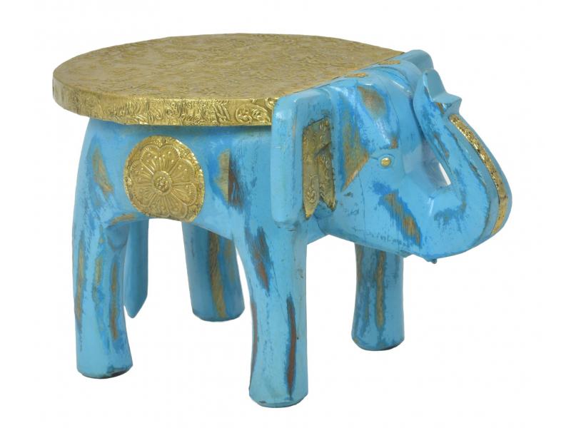 Stolička ve tvaru slona zdobená mosazným kováním, 30x19x18cm